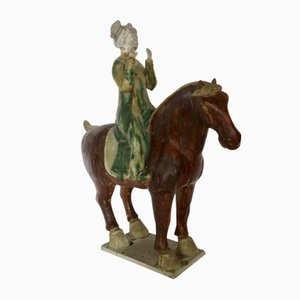 Antique Tang Sancai Glazed Terracotta Horse with Lady Musician