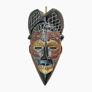 Vintage Cameroon Tropical Hardwood Tikar Tribal Mask, 1970s