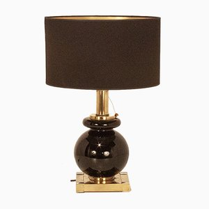Mid-Century Spanish Brass, Chromed Metal, and Black Glass Table Lamp by Willy Rizzo for Lumica, 1970s