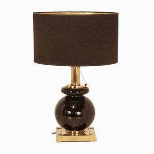 Spanische Mid-Century Tischlampe aus Messing, verchromtem Metall & schwarzem Glas von Willy Rizzo für Lumica, 1970er
