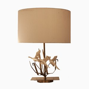 Mid-Century French Resin and Brass Table Lamp, 1970s