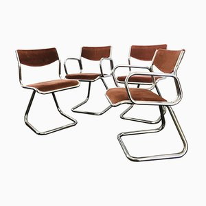Vintage Space Age Cantilever Dining Chairs, 1970s, Set of 4