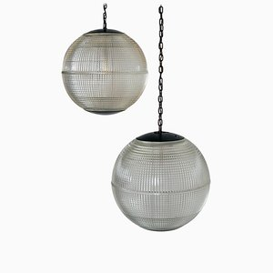 Large Mid-Century French Glass Globe Pendant Lamps from Holophane, 1960s, Set of 2