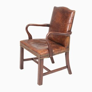Danish Patinated Leather Armchair, 1940s