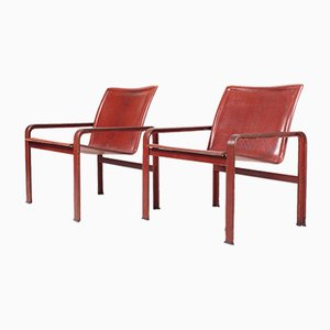 Patinated Leather Lounge Chairs from Matteo Grassi, 1970s, Set of 2