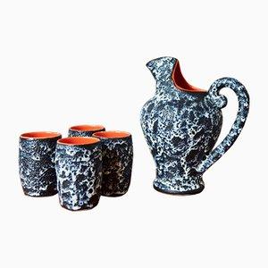Vintage Krug und Tassen aus Keramik von Marius Musarra für Mabyjo, 1970er, 5er Set
