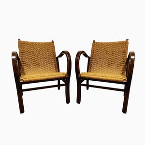 Papercord Lounge Chairs by Vroom & Dreesman, 1950s, Set of 2