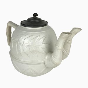 Large Victorian White Salt Glazed Ironstone Teapot with Two Neck, 1860s