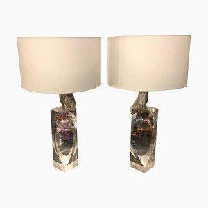 Italienische Modernistische Plexiglas Tischlampen, 1970er, 2er Set