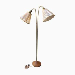 Teak Stehlampe mit 2 Originalen Schirmen, 1950er
