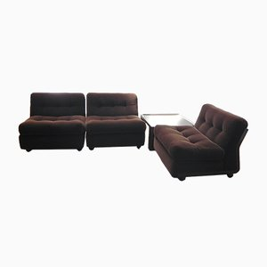 Amata Lounge Chairs & Coffee Table by Mario Bellini for B&B Italia / C&B Italia, 1970s, Set of 4