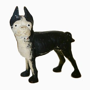 Dog Sculpture or Doorstop in Black and White Cast Iron from Hubley Manufacture, 1940s