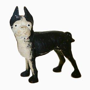 Hundeskulptur oder Türstopper aus Gusseisen in Schwarz & Weiß von Hubley Manufacture, 1940er