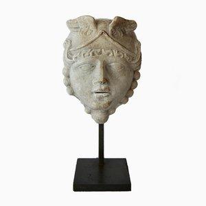 Petite Sculpture Tête de Medusa 19ème Siècle en Marbre