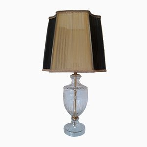 Lampe de Bureau Vintage en Cristal avec Abat-Jour Organza