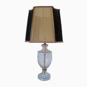Vintage Tischlampe aus Kristallglas mit Organza Lampenschirm