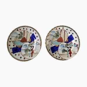 Handbemalte japanische Porzellan Teller, 1920er, 2er Set