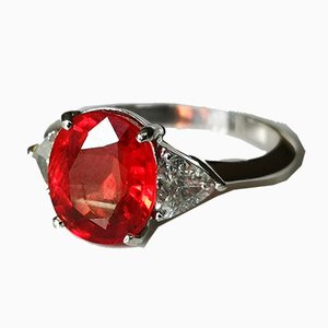 18 Karat White Gold Ring with Songea Ruby of 4.39 Karats with Triangular Diamonds