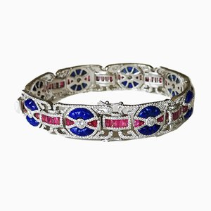 Art Style Bracelet Decorated in 18 Karat White Gold Lapis Lazuli Calibrated Rubies and Diamonds