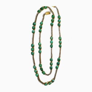 Long Necklace in 18 Karat White and Yellow Gold of 50k with Emeralds and Diamonds