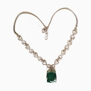 Gold Necklace 18k Emerald and Diamonds of 25 Karats