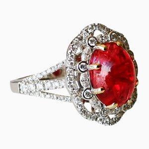 Ring aus 18 Karat Gold mit rotem Spinel Cabochon 3,5 K unbeheizt von Burma and Diamonds