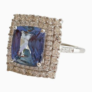 White Gold Ring 750 18k Sapphire unheated of 4.18k and Diamonds