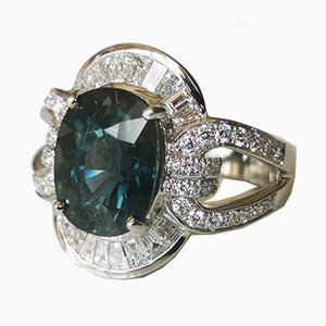 Art Deco Grey Gold 18kt Ring with Green Sapphire unheated and Diamonds
