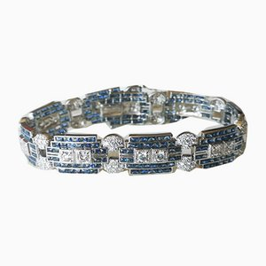 Bracelet Style Art Déco Gris et Or avec Saphirs et Diamants