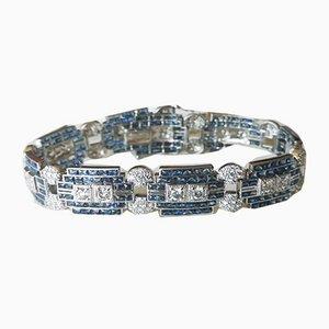 Grau und goldenes Armband im Art Deco Stil mit Saphiren und Diamanten