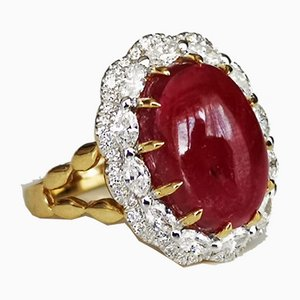Ring Gold 18k with Cabochon Ruby 8.69ks un Heated and Burmese & Diamonds