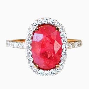 Ungeschliffener 18 Karat Rubinring aus 18 kt Roségold und Unbeheizten Ring von 3,29 Karat und Diamanten