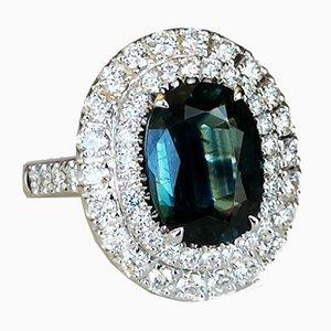 Bague Saphir en Or Blanc Non-Chauffé et Diamants