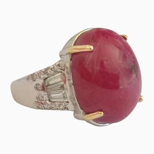 18 Karat Gold Ring with Burmese Ruby of 25 Karats and Diamonds