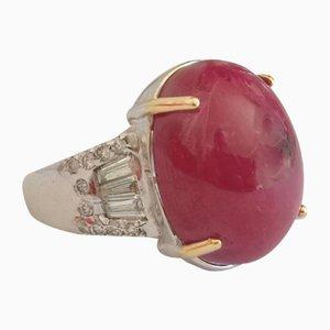 Ring aus 18 Karat Gold mit birmanischem Rubin von 25 Karat und Diamanten