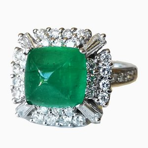 Art Deco Gold Ring 18K Emerald Colombia 4.67 Karat Diamonds