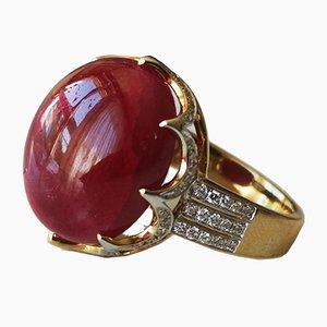 Ring 750 Rubin und 20 Karat Unwarmer Ring aus Rotem und Gelbgold mit Unwarmem & Burma Diamanten