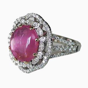 Gänseblümchen Ring aus 18 Karat Weißgold Rubin unbeheizten Birma zu 3,45 Karat und Diamanten