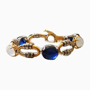 Flexible Bracelet in White Gold and 18k Yellow Gold Sapphire or Moon Rocks for about 53 Karats