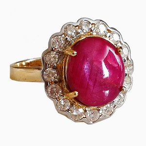 Yellow Gold Ring 18k Ruby Cabochon of 6.9k Unheated from Burma Diamonds