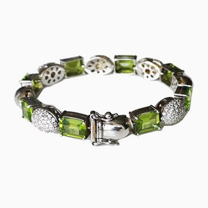 Soft Gold Bracelet 18k Peridots Rectangles and Diamonds