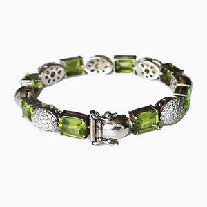 Weiches Goldfarbenes Armband aus 18 Karat Peridots Rechtecken und Diamanten