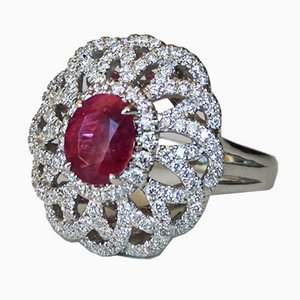 White Gold Ring 750 18 Karats no Heated Ruby and Diamonds