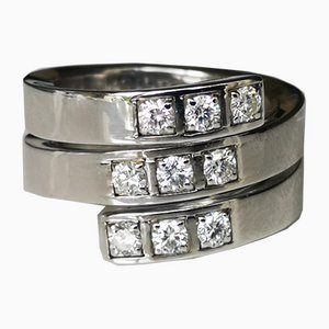 Bague Spirale Cartier Or Blanc Ornée de Diamants