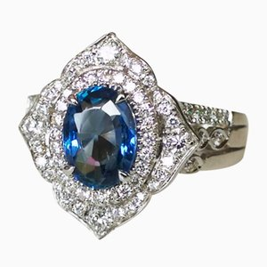 Ring in 18 Karat White Gold with 1.94 Karats Unheated Sapphire and Diamonds