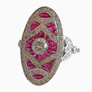 Bague 750 18Kt Style Art Déco avec Diamants et Rubis
