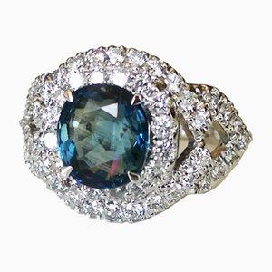 Ring aus natürlichem Saphir in Weißgold 2.87k Unhaved und Diamonds