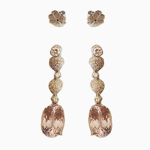 Earrings in 18 Karat Gold Kunzites for 20k and Diamonds, Set of 2