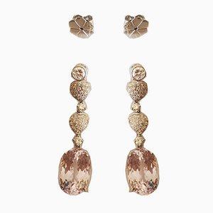 Ohrringe aus 18 Karat Gold Kunzites für 20k und Diamanten, 2er Set