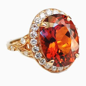 18 Karat Pink Gold Daisy Ring with 7.46 Karats Spessartite Garnet and Diamonds